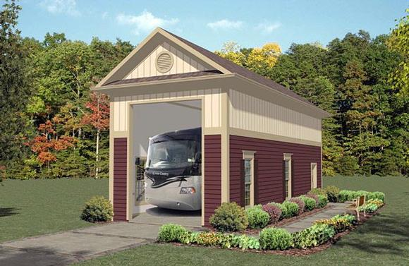 1 Car Garage Plan 74835, RV Storage Elevation