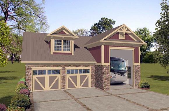 Craftsman, Tudor 2 Car Garage Apartment Plan 74837 with 1 Beds, 1 Baths, RV Storage Elevation