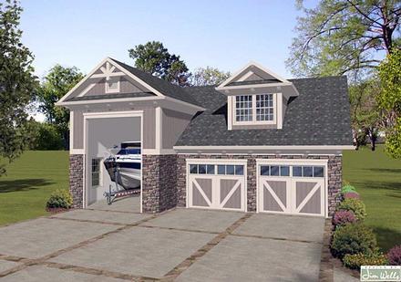 Traditional 2 Car Garage Apartment Plan 74838, RV Storage