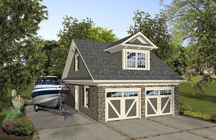 2 Car Garage Apartment Plan 74839 with 1 Beds, 1 Baths