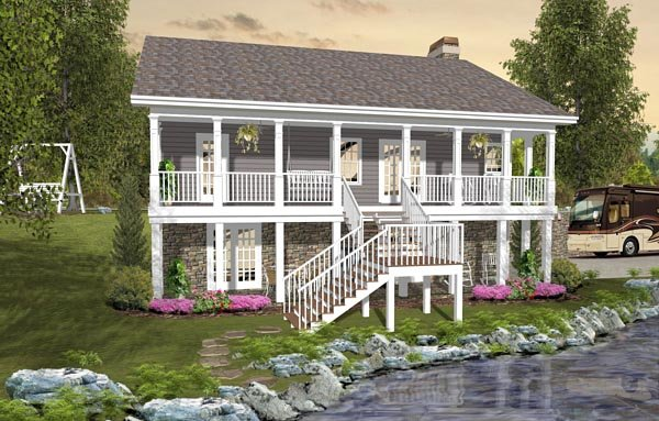 Cottage, Country, Craftsman House Plan 74849 with 3 Beds, 3 Baths, 2 Car Garage Rear Elevation