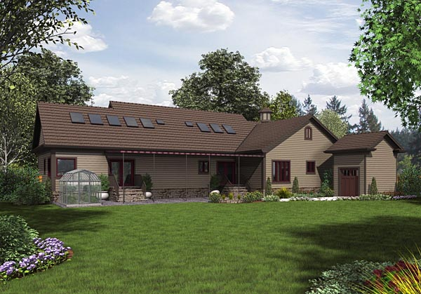 Cottage Country Traditional House Plan 74852 Rear Elevation