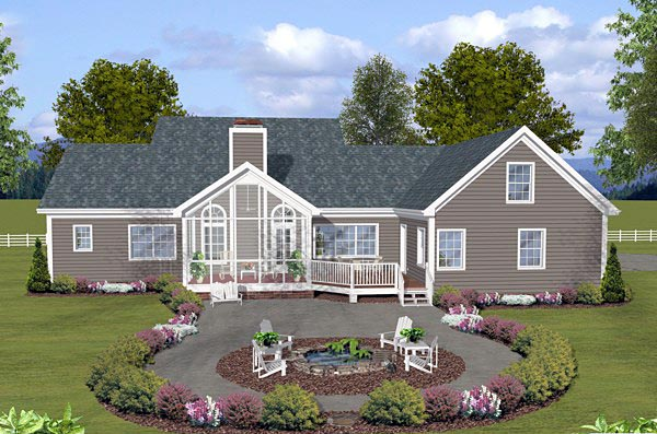 Country Traditional House Plan 74853 Rear Elevation