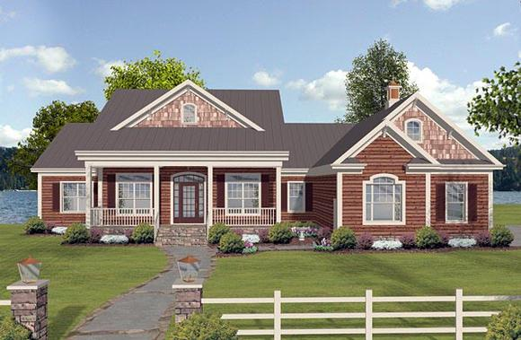 Cottage, Country, Craftsman, Ranch House Plan 74854 with 3 Beds, 3 Baths, 3 Car Garage Elevation