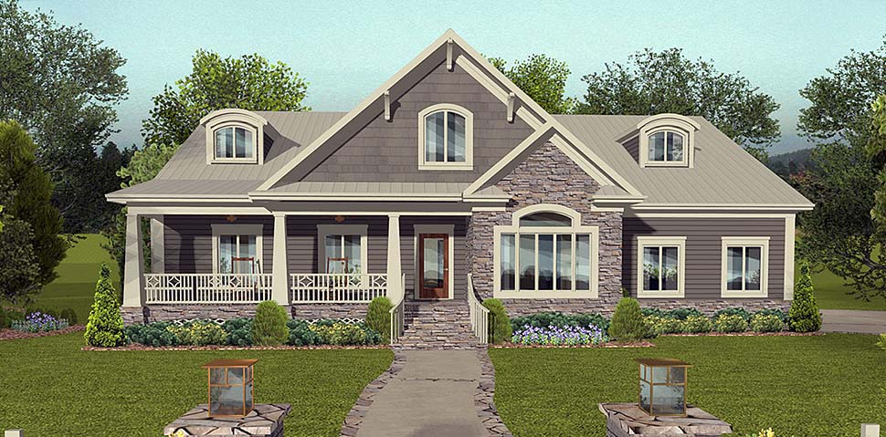 Cottage, Country, Craftsman, Traditional House Plan 74861 with 4 Beds, 3 Baths, 3 Car Garage Elevation