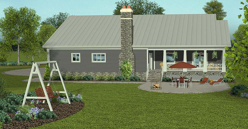 Cottage, Country, Craftsman, Traditional House Plan 74861 with 4 Beds, 3 Baths, 3 Car Garage Rear Elevation