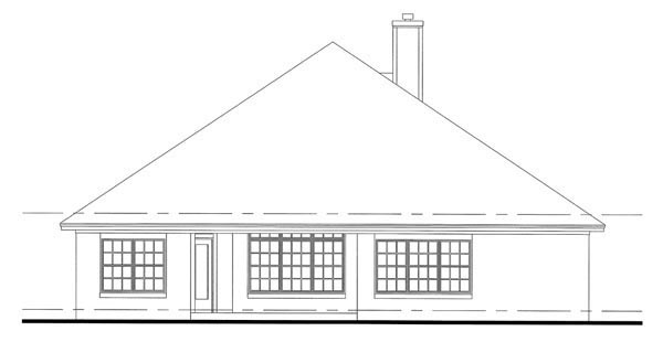 Cottage Country Traditional House Plan 75101 Rear Elevation