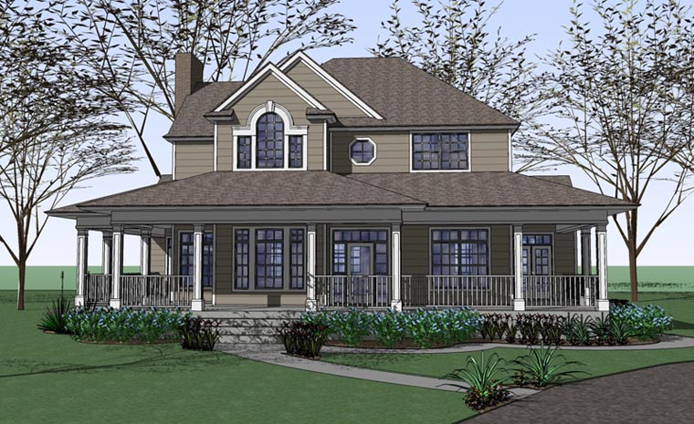 Country, Farmhouse, Victorian House Plan 75102 with 3 Beds, 3 Baths Elevation