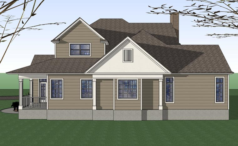 Country Farmhouse Victorian House Plan 75102 Rear Elevation
