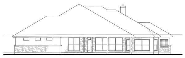 Colonial, Traditional House Plan 75117 with 3 Beds, 3 Baths, 3 Car Garage Rear Elevation