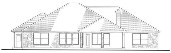Colonial , Traditional House Plan 75118 with 4 Beds, 4 Baths, 2 Car Garage Rear Elevation