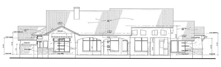 Coastal, Tuscan House Plan 75121 with 3 Beds, 3 Baths, 3 Car Garage Rear Elevation