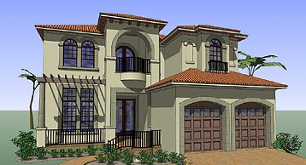 Coastal Contemporary Florida Italian Mediterranean House Plan 75131  Elevation Photo Gallery