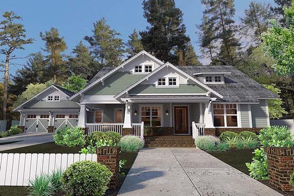 Bungalow, Cottage, Craftsman House Plan 75137 with 3 Beds, 2 Baths, 2 Car Garage Elevation