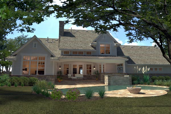 Country, Farmhouse, Southern House Plan 75138 with 3 Beds, 3 Baths, 2 Car Garage Rear Elevation