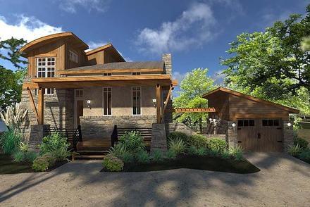 Contemporary Cottage Craftsman Modern Tuscan Elevation of Plan 75140