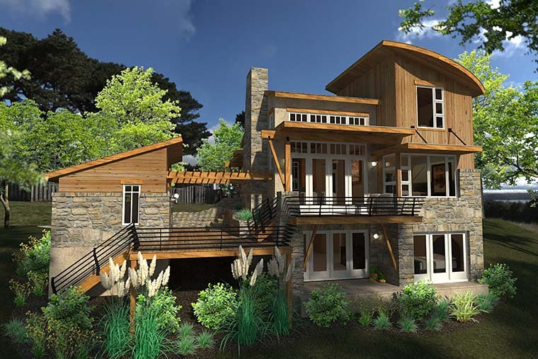 Contemporary Cottage Craftsman Modern Tuscan House Plan 75140 Rear Elevation