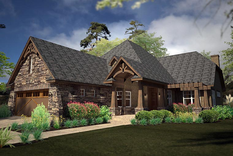 Craftsman Style House Plan 75141 with 2 Bed, 2 Bath, 3 Car Garage