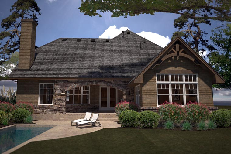 Cottage Country Craftsman House Plan 75141 Rear Elevation