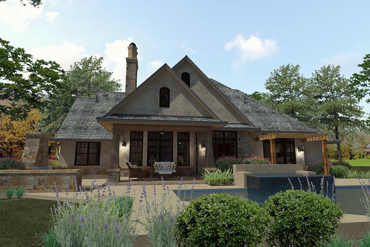 Craftsman Traditional Tuscan House Plan 75144 Rear Elevation