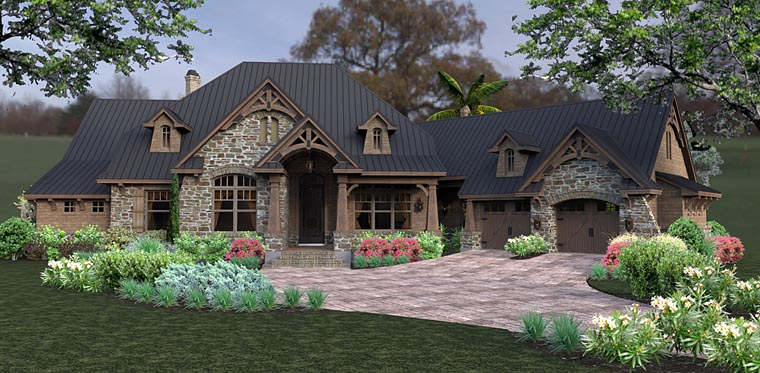 Country, Craftsman, Tuscan House Plan 75145 with 3 Beds, 2 Baths, 2 Car Garage Elevation