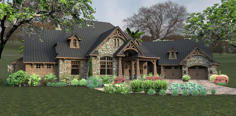 Country, Craftsman, Tuscan House Plan 75145 with 3 Beds, 2 Baths, 2 Car Garage Picture 1