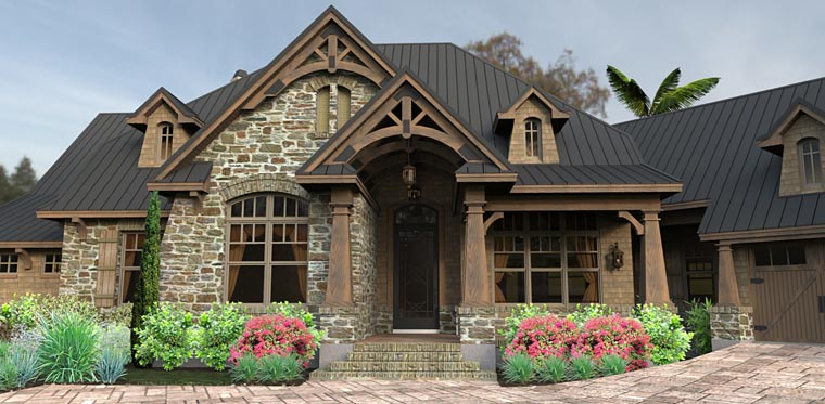 Country, Craftsman, Tuscan House Plan 75145 with 3 Beds, 2 Baths, 2 Car Garage Picture 2