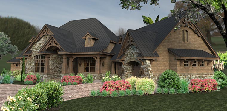 Country, Craftsman, Tuscan House Plan 75145 with 3 Beds, 2 Baths, 2 Car Garage Picture 3