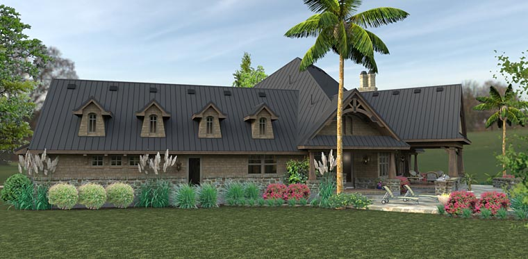 Country, Craftsman, Tuscan House Plan 75145 with 3 Beds, 2 Baths, 2 Car Garage Picture 4