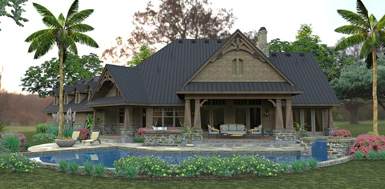 Country, Craftsman, Tuscan House Plan 75145 with 3 Beds, 2 Baths, 2 Car Garage Rear Elevation