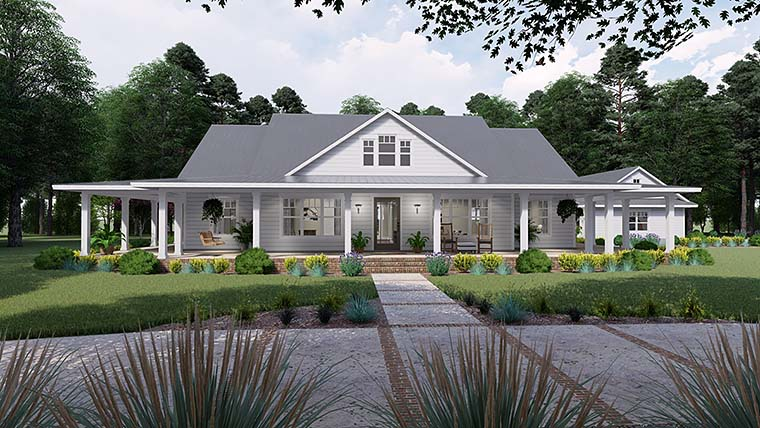 Country Farmhouse Southern House Plan 75151 Elevation