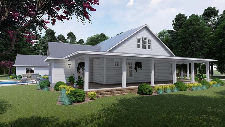 Country Farmhouse Southern House Plan 75151