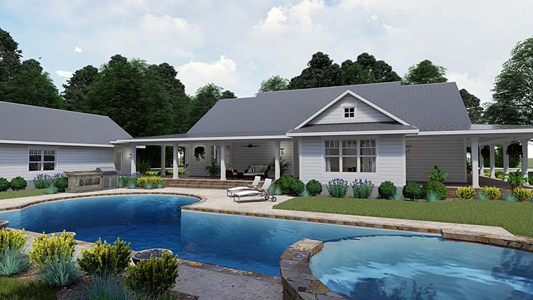 Country Farmhouse Southern House Plan 75151 Rear Elevation