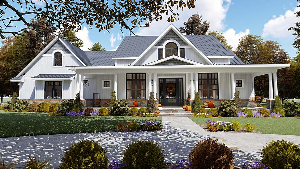 Country, Farmhouse, Southern House Plan 75154 with 3 Beds, 3 Baths, 2 Car Garage Elevation