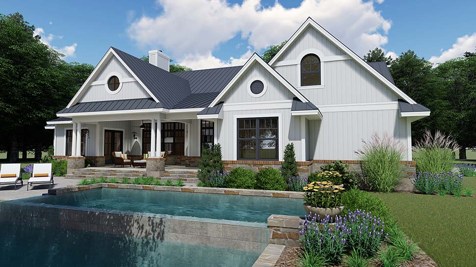 Country, Farmhouse, Southern House Plan 75154 with 3 Beds, 3 Baths, 2 Car Garage Rear Elevation