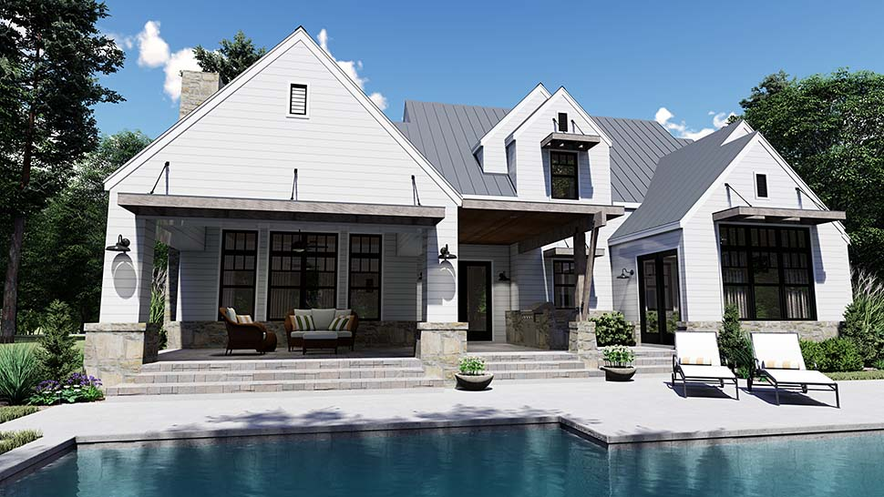 Cottage, Country, Farmhouse, Southern House Plan 75155 with 4 Beds, 4 Baths, 2 Car Garage Rear Elevation