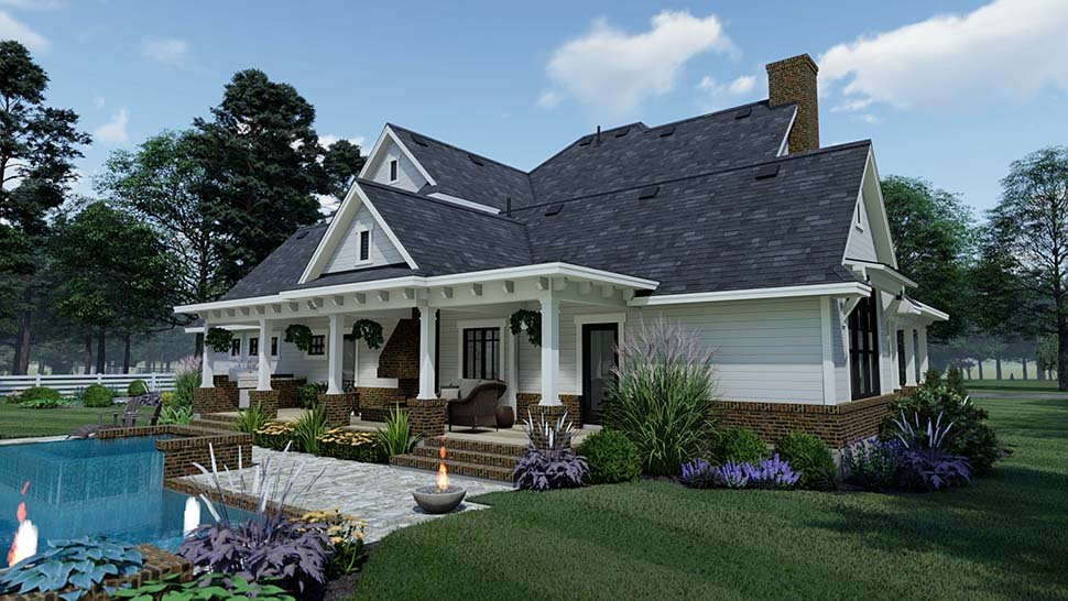 Country, Farmhouse, Southern House Plan 75158 with 3 Beds, 3 Baths, 2 Car Garage Picture 3