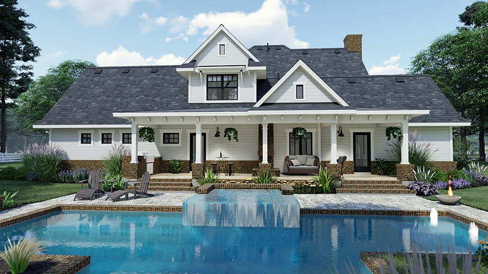 Country, Farmhouse, Southern House Plan 75158 with 3 Beds, 3 Baths, 2 Car Garage Rear Elevation