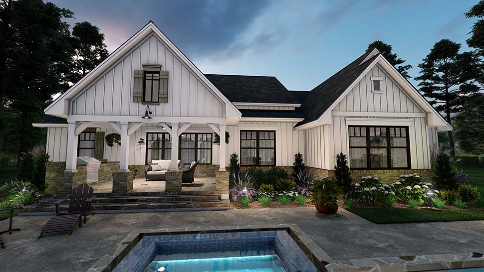 Cottage, Farmhouse, Southern House Plan 75160 with 4 Beds, 3 Baths, 2 Car Garage Rear Elevation