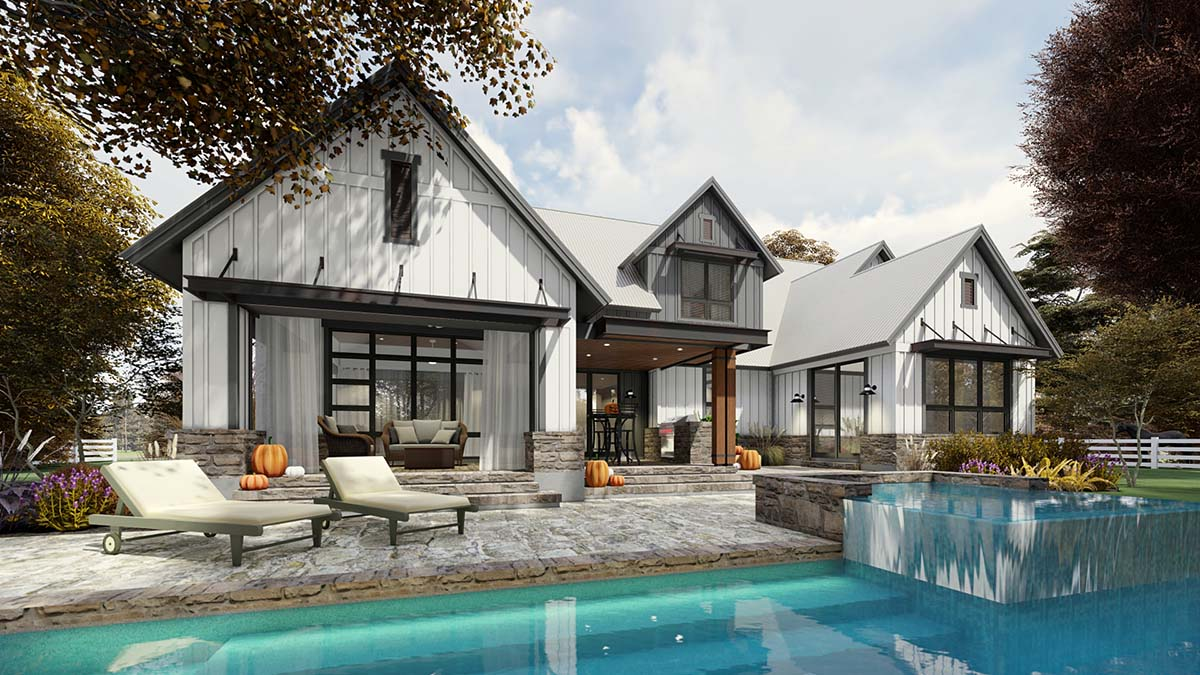 Country, Farmhouse House Plan 75165 with 3 Beds, 3 Baths, 2 Car Garage Rear Elevation