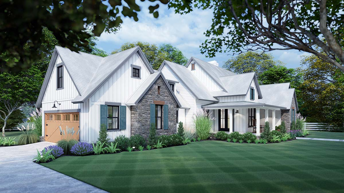 Cottage, Farmhouse, Southern, Traditional House Plan 75166 with 3 Beds, 3 Baths, 2 Car Garage Picture 2
