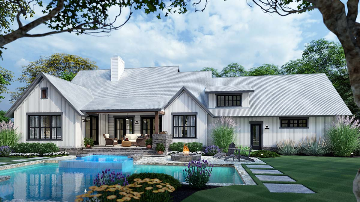 Cottage Farmhouse Southern Traditional Rear Elevation of Plan 75166