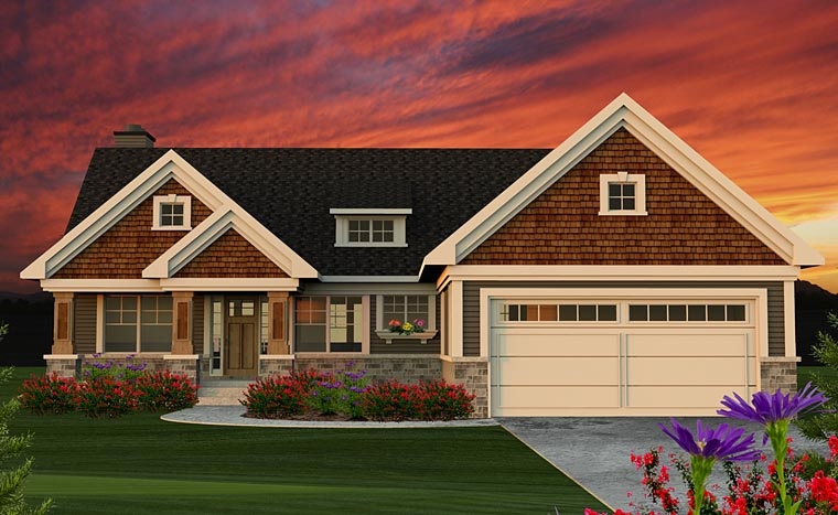 Cottage Craftsman Traditional House Plan 75202 Elevation
