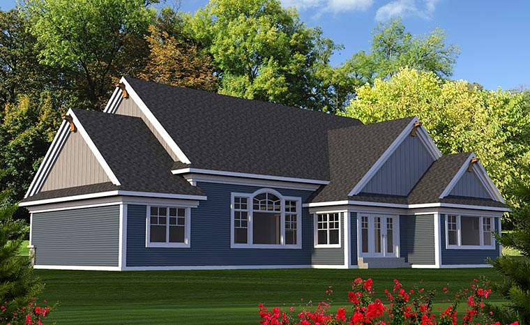 Craftsman Traditional House Plan 75210 Rear Elevation