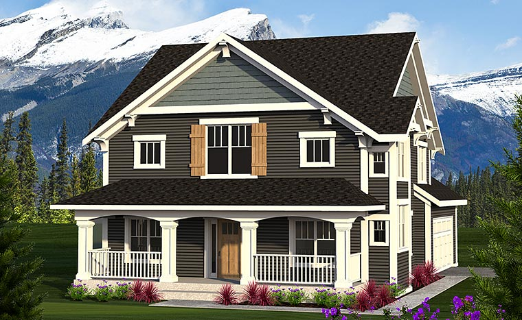 Craftsman, Traditional House Plan 75214 with 3 Beds, 3 Baths, 2 Car Garage Elevation