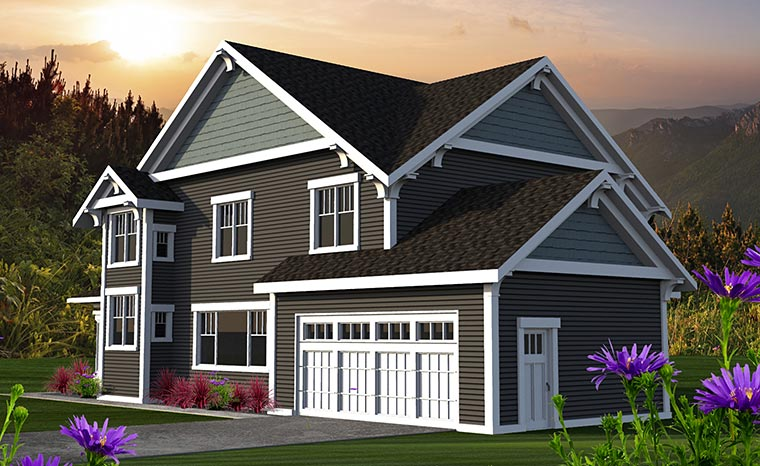 Craftsman, Traditional House Plan 75214 with 3 Beds, 3 Baths, 2 Car Garage Rear Elevation