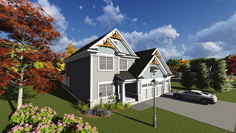 Craftsman, Traditional, Tudor House Plan 75240 with 4 Beds, 3 Baths, 3 Car Garage Elevation