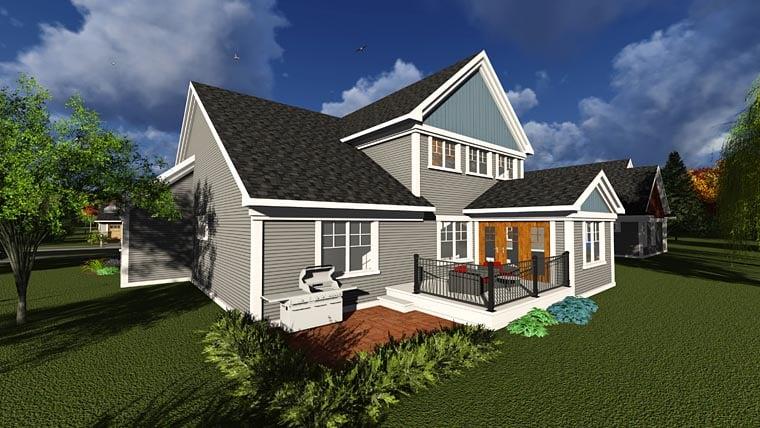 Craftsman, Traditional, Tudor House Plan 75240 with 4 Beds, 3 Baths, 3 Car Garage Rear Elevation