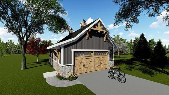 Country, Craftsman 2 Car Garage Plan 75250 Elevation