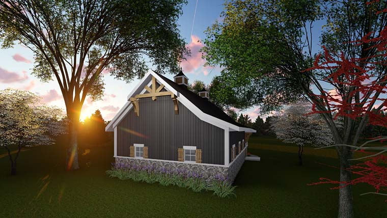 Country, Craftsman 2 Car Garage Plan 75250 Rear Elevation